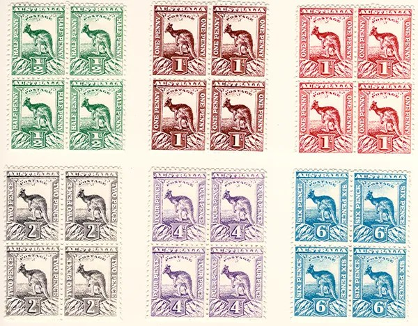 Gerald King - Alternative Australia - 1913. Kangaroo - Low values stamps in blocks of four labels - Front