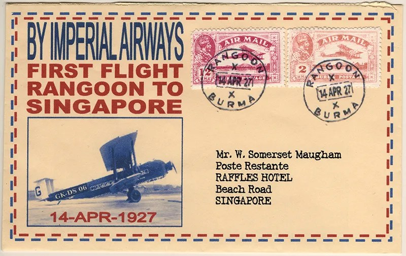 Gerald King - Alternative Burma - 1927 - Cover 2 - First flight from Rangoon (Air Mail) (Front)