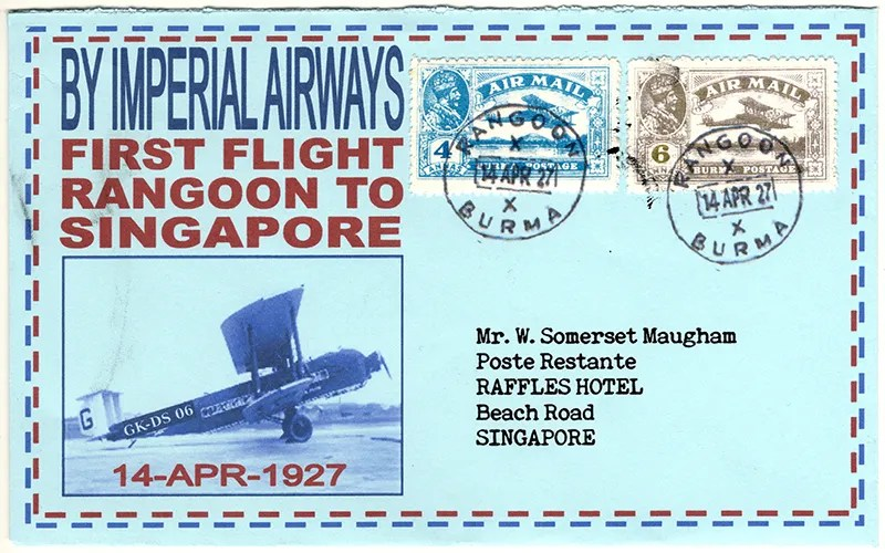 Gerald King - Alternative Burma - 1927 - Cover 3 - First flight from Rangoon (Air Mail) (Front)