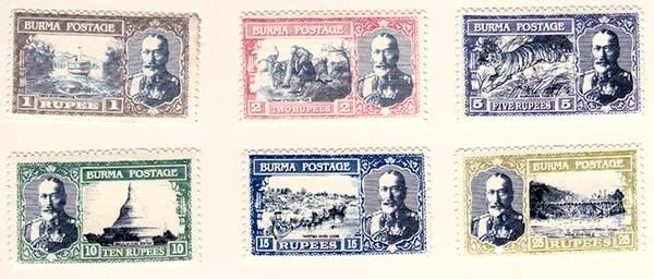 Gerald King - Alternative Burma - 1930 King George V pictorials (Rupee Values)