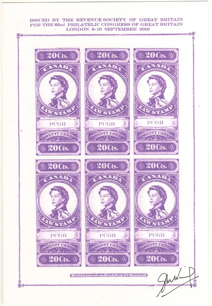 """Gerald King - Canadian Law Stamps - Color Trial Proof (Violet with PCGB). From: year 2000. In year 2000 The Revenue Society of Great Britain commissioned Gerald King to produce an """"essay"""" of what the Canada 20 cents revenue stamp from year 1876 would look like if the design had been continued in to the reign of Elizabeth II. The stamps were produced in sheets of 5 stamps and sheets of 6 stamps. The sheets of 5 stamps had the center stamp inverted. The sheets of 6 stamps had two rows with 3 stamps each."""