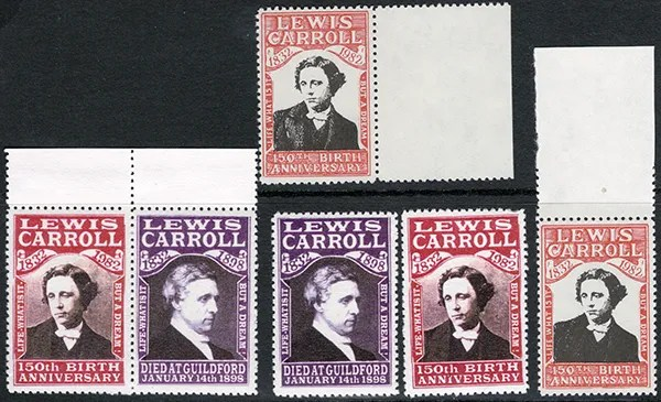 Gerald King - Lewis Carroll 150th Birth Anniversary - Different stamps