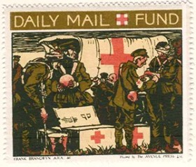 Gerald King - '1916 Daily Mail, Red Cross Fund' reproduction Cinderella stamps. Set of 6 stamps without values. Stamp 5 of 6.