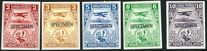 Gerald King - Newfoundland 1919 - Air Mail Specimen stamps (Imperforated) - Unadopted stamps - Extremely rare. From: 2003. This is a set of fantasy Newfoundland Air Mails based on essays produced in 1919 by Whitehead Morris and Co. Ltd. They were to be used on a proposed service from Newfoundland to Montreal and Halifax. The service never started and the stamps were never produced.