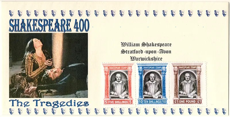 The Shakespeare stamps were followed by a series of three covers. Each cover bear three of the stamps. The covers are dealing with