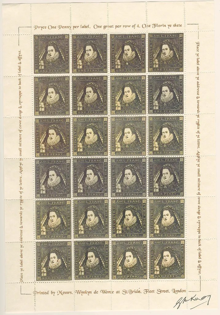 Gerald King - The Tudor House - Sheets of 24 stamps - Elizabeth I (Fifth monarch). There are 5 different sheets of 24 stamps each, showing the five Tudor monarchs (Henry VII, Henry VIII, Edward VI, Mary I & Elizabeth I).