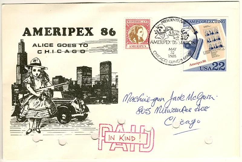 Gerald King - Ameripex 86 (Alice Goes To Chicago) - Addressed to Machine-gun Jack McGurn - Cover (1 of 2). From May 22, 1986.