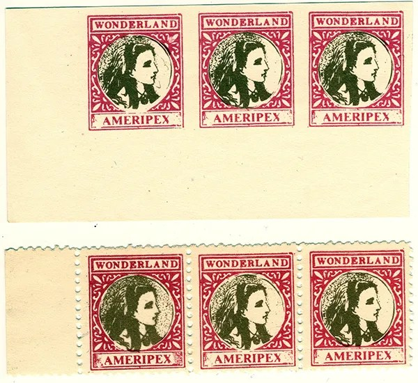 Gerald King - Ameripex 86 (Alice Goes To Chicago) - Stamps (Imperforated and perforated). From: May 22, 1986.
