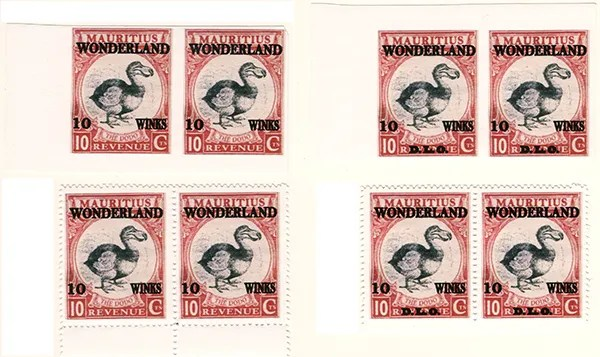 Gerald King - Wonderland - Mauritius - The Dodo - Pairs of stamps -Stamp value: 10 Winks.