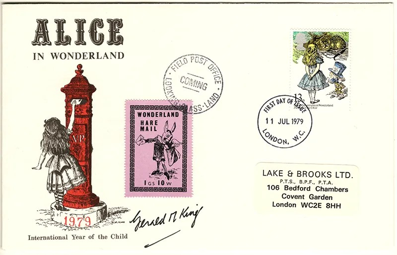 Gerald King - The Year of The Child - Set 1, Cover 4 (Signed) - Philatelic Artist Gerald M King's 'Alice in Wonderland' Mr King was especially commissioned by Lake & Brooks in 1979 to design these special covers for 'The Year of the Child'. Complete Set 1: