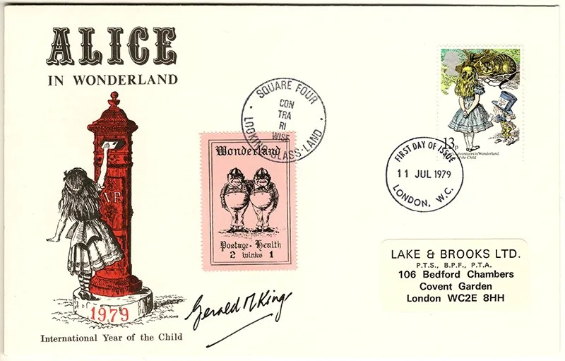 Gerald King - The Year of The Child - Set 1, Cover 3 (Signed) - Philatelic Artist Gerald M King's 'Alice in Wonderland' Mr King was especially commissioned by Lake & Brooks in 1979 to design these special covers for 'The Year of the Child'. Complete Set 1: