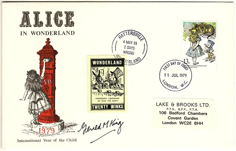 Gerald King - The Year of The Child - Set 1, Cover 2 (Signed) - Philatelic Artist Gerald M King's 'Alice in Wonderland' Mr King was especially commissioned by Lake & Brooks in 1979 to design these special covers for 'The Year of the Child'. Complete Set 1: