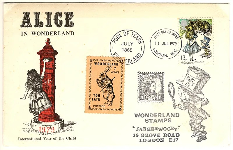 Gerald King - The Year of The Child - Set 2, Cover 1 (Jabberwocky) - Philatelic Artist Gerald M King's 'Alice in Wonderland' Mr King was especially commissioned by Lake & Brooks in 1979 to design these special covers for 'The Year of the Child'. Complete Set 2: