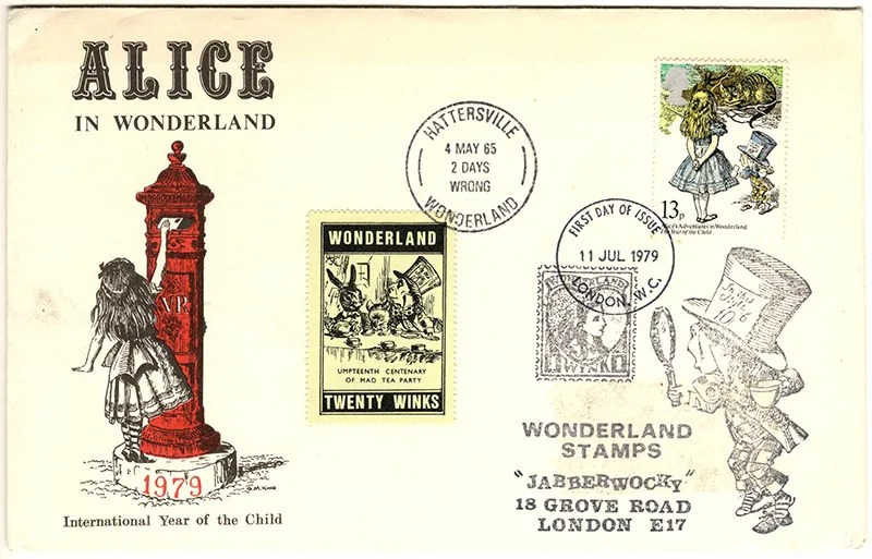 Gerald King - The Year of The Child - Set 2, Cover 2 (Jabberwocky) - Philatelic Artist Gerald M King's 'Alice in Wonderland' Mr King was especially commissioned by Lake & Brooks in 1979 to design these special covers for 'The Year of the Child'. Complete Set 2: