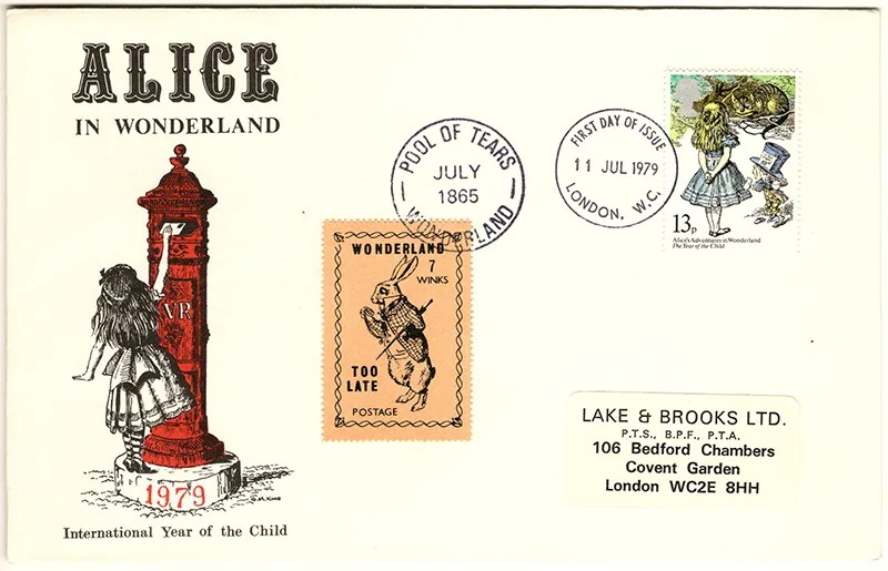 Gerald King - The Year of The Child - Set 4, Cover 1 (LB) - Philatelic Artist Gerald M King's 'Alice in Wonderland' Mr King was especially commissioned by Lake & Brooks in 1979 to design these special covers for 'The Year of the Child'.  Complete Set 4: