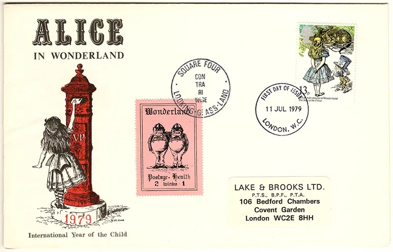 Gerald King - The Year of The Child - Set 4, Cover 3 (LB) - Philatelic Artist Gerald M King's 'Alice in Wonderland' Mr King was especially commissioned by Lake & Brooks in 1979 to design these special covers for 'The Year of the Child'.  Complete Set 4: