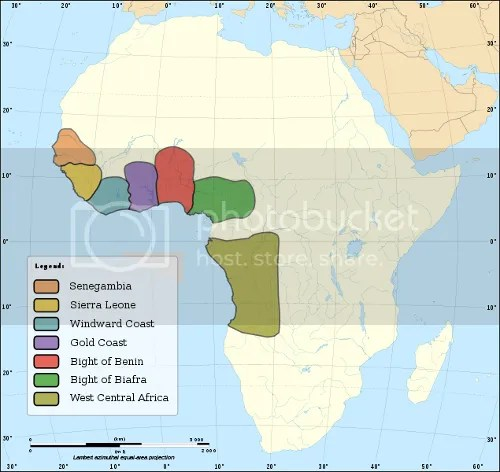 Map depicting major slave trading regions of Africa