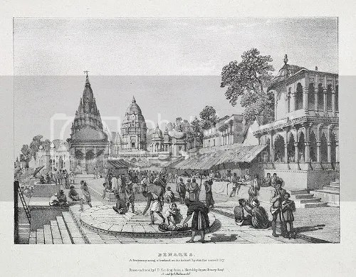 Varanasi in 1832 by James Prinsep