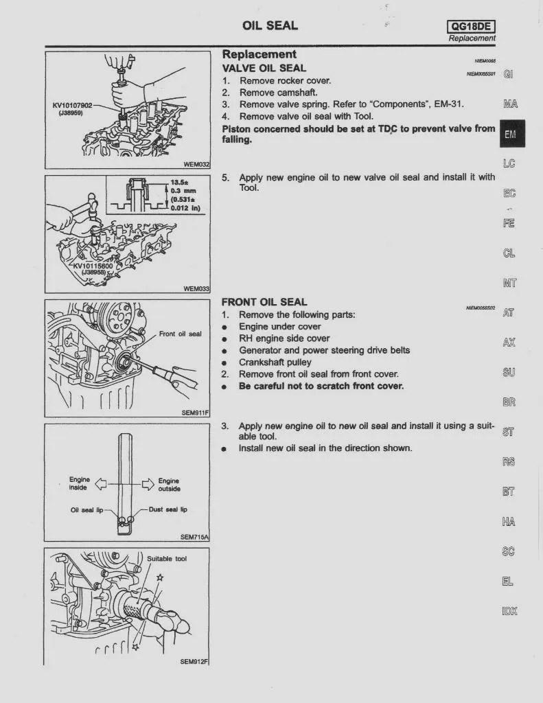 2001 01 Nissan Sentra Service Manual XE GXE SER SE CA R