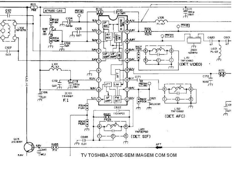 TV TOSHIBA TV 2070E-COM SOM SEM IMAGEM