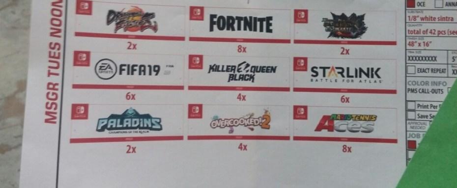 e3 2018,nintendo switch, Nintendo Switch: Un'immagine svela i titoli presenti all'E3