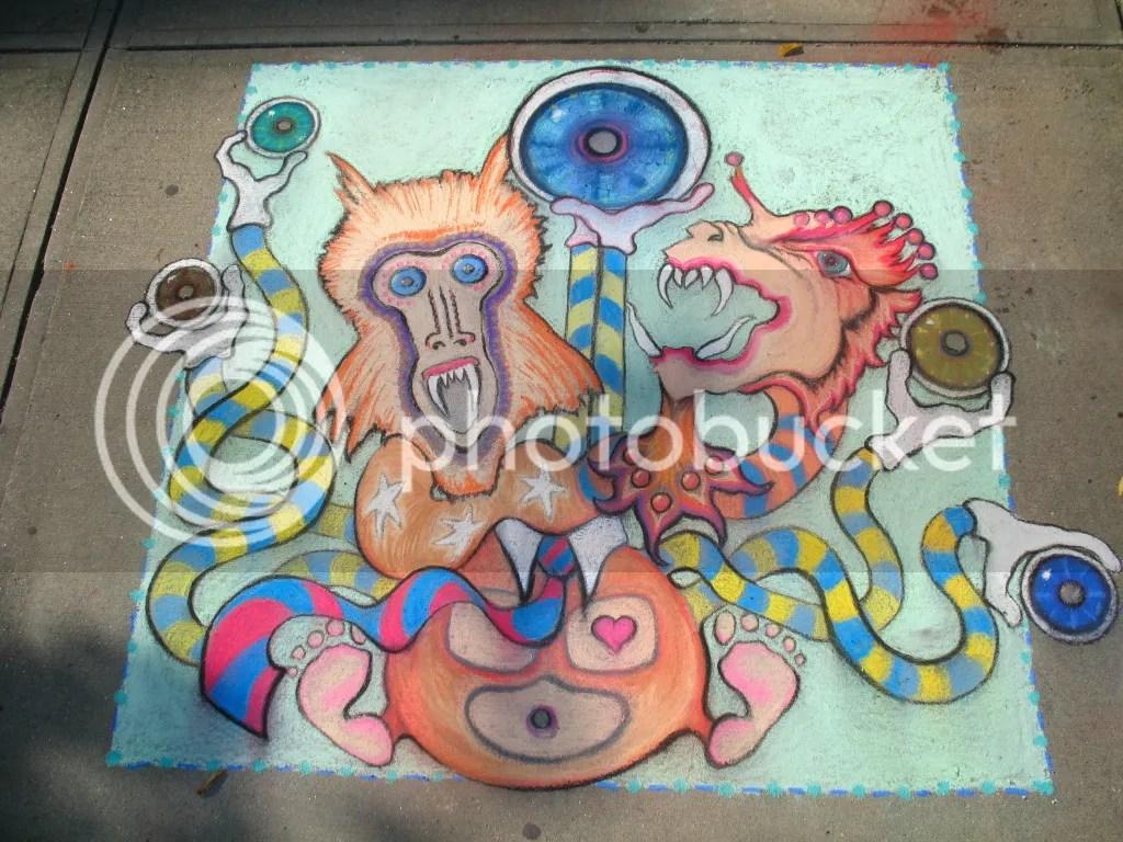 chalk drawing by mark bodah and steph gerolimatos