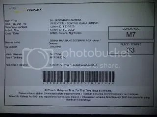 Contoh tiket kereta Senandung Sutera