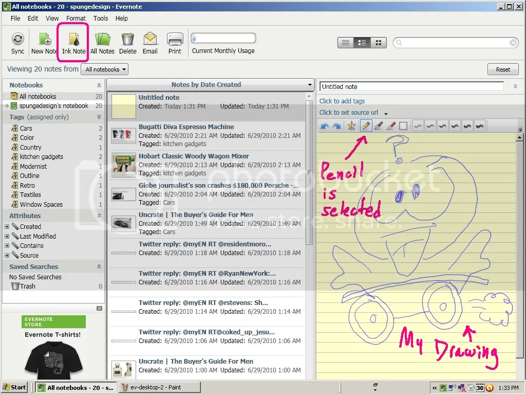 drawing in Evernote
