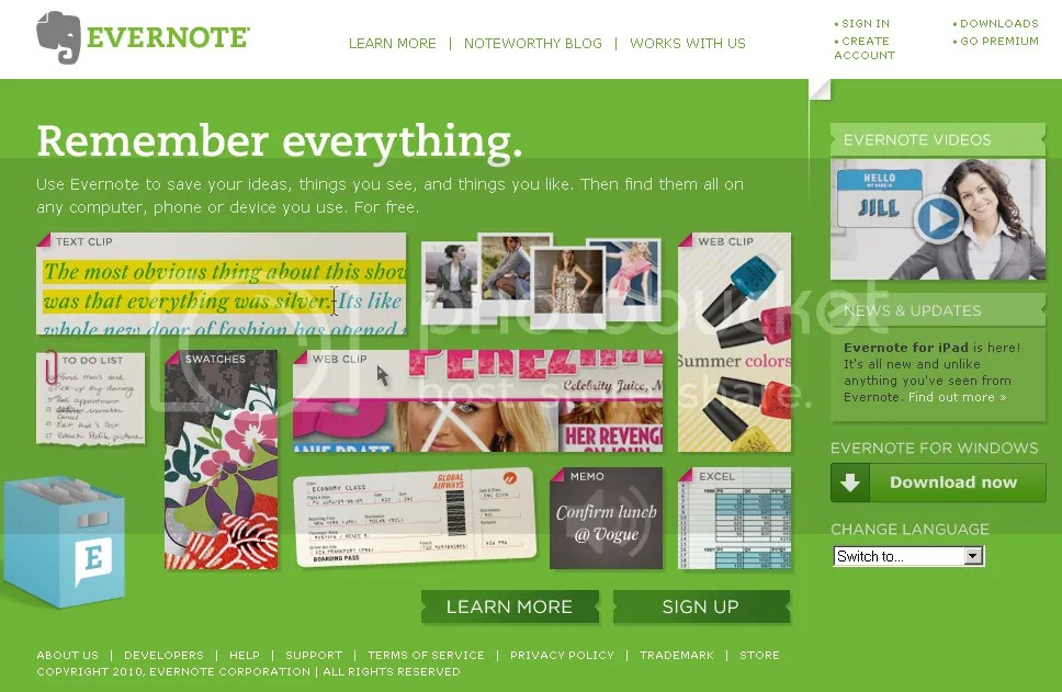 Evernote's front page