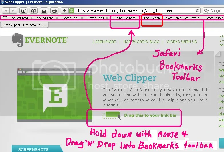 Web Clipper button for Evernote