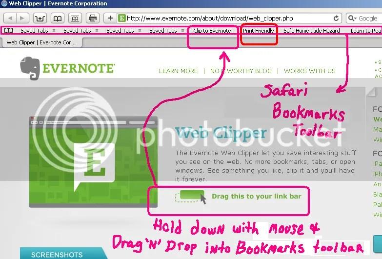 Web Clipper button for Evernote