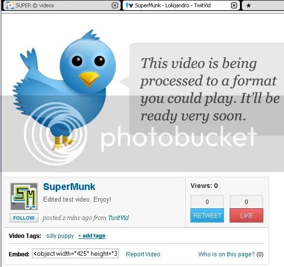 Uploading encoded video to TwitVid