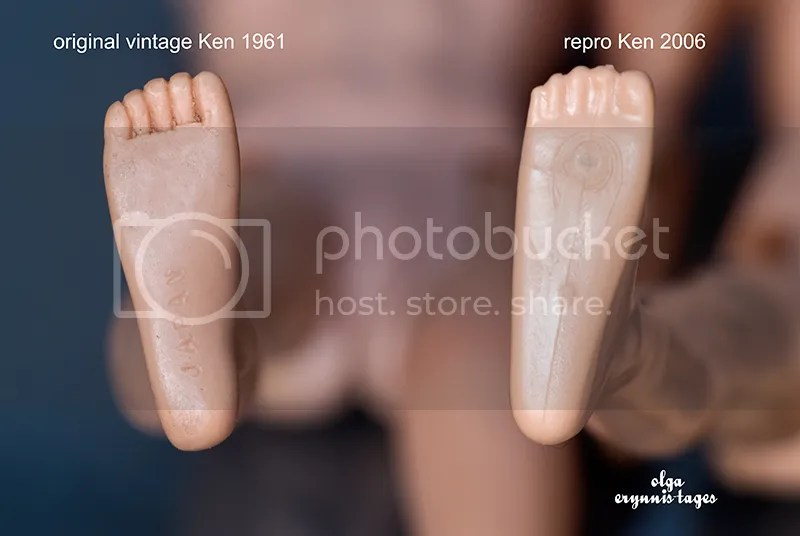 Vintage Ken's foot vs Repro Ken's foot