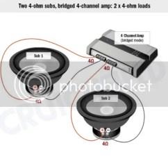 2 Ohm Sub Wiring Diagram Emg Ibanez Help! Bridged 4 Channel Amp Memphis Pr4.50 To 4ohm Svc 10inch Subs