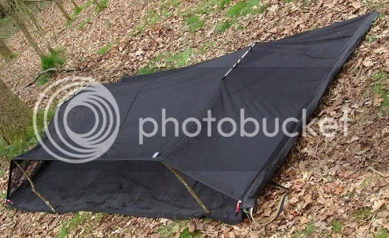 Zipup Enclosable Bivi Camping Hammock Removable BaseEmergency Tarp Black TW
