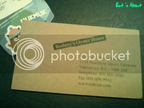 Rodney's Oyster House business card