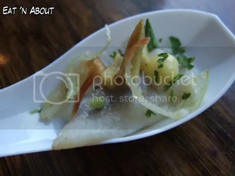Backstage Lounge: Pickled Herring with Candied Yellow Beets, Saffron Aioli and Leek Frites