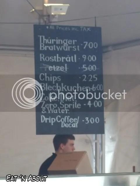 German Fan Fest menu