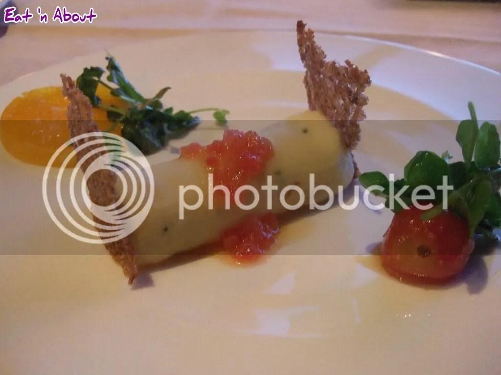 The Observatory: Black Cod Brandade; organic egg fudge, tomato vinaigrette, rye bread