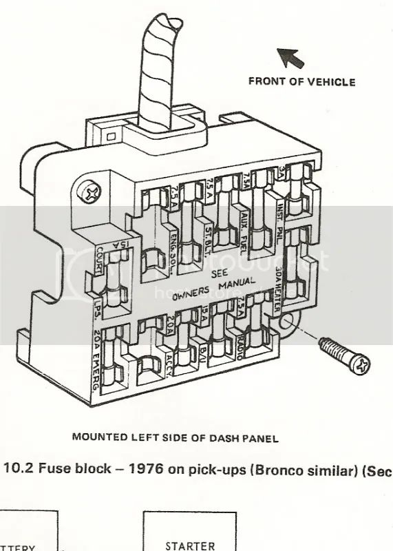 1977 ford f250 fuse panel