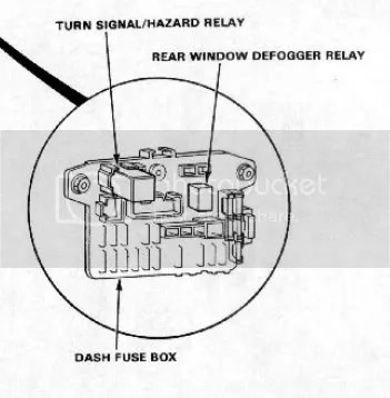Location of rear window defogger relay for 91 dx hatchback