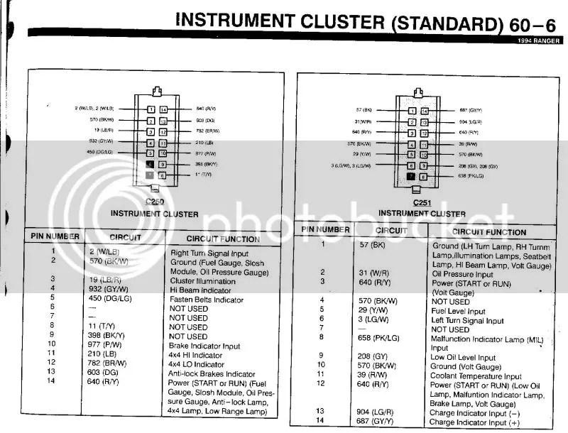 1994 Ford ranger speedometer cluster