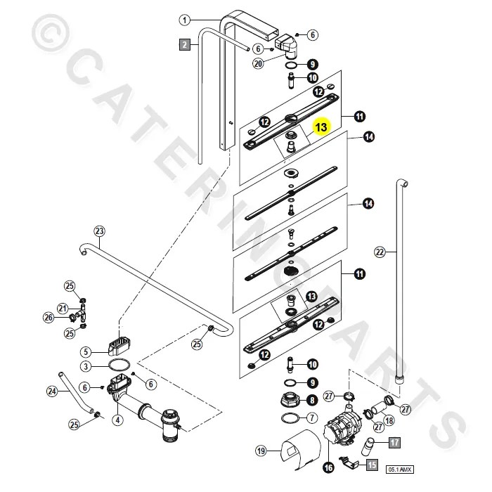 HOBART 01-539624-001 SPARE WASH ARM GUIDE PROFI AMX AMXT