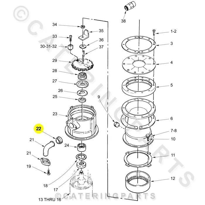 HOBART 201404 RUBBER SPOUT GASKET WASTE DISPOSER OUTLET