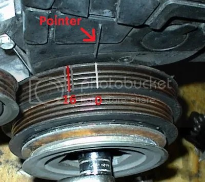 obd0 to obd1 vtec wiring diagram jeep jk door the importance of distributor timing ek9 org jdm honda civic 6 point light down at crank pulley and view where middle mark 16 degree s is in relation pointer on your belt cover