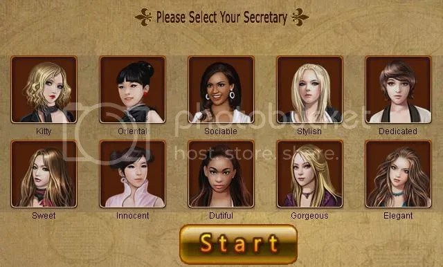 Business Tycoon Online's secretary selection page.