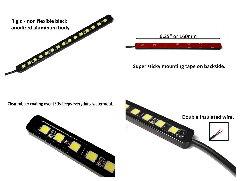 4 White 15 LED light bar kit license plate, DRL/Fog, trunk