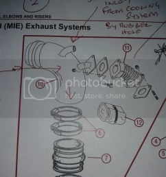 hi hope you can help i am looking for a new or good second hand water injection exhaust bend identified as number 10 in the diagram  [ 768 x 1024 Pixel ]