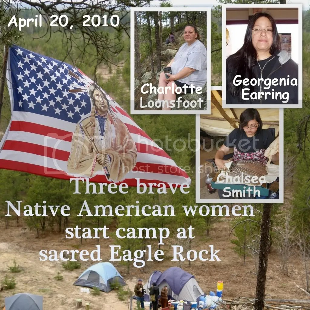 Three Brave Native American women start camp at Sacred Eagle Rock