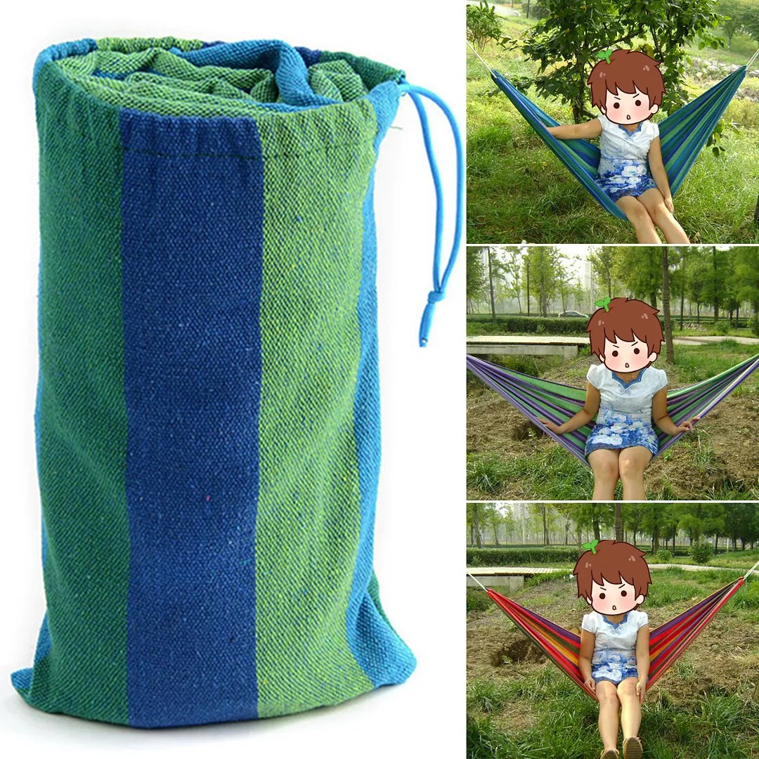 Portable Two Person Cotton Rope Hanging Hammock Swing